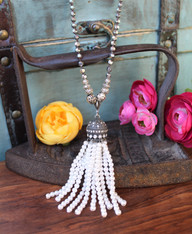Elegant Pearl Tassel Necklace