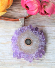 Amethyst Slice Boho Necklace