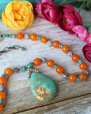 Orange and Turquoise Bohemian Necklace