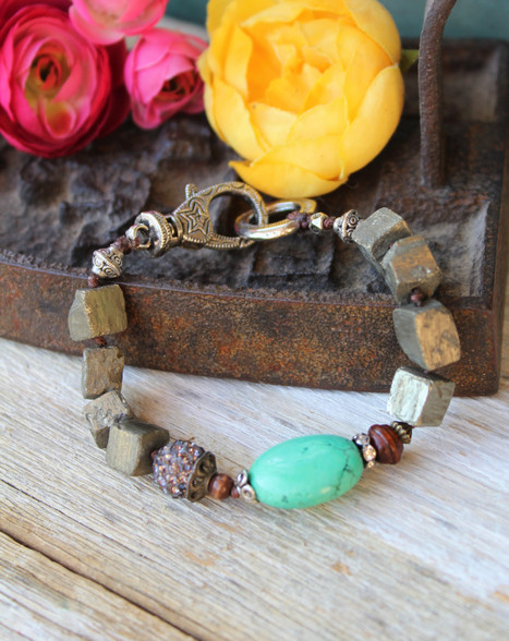 Turquoise and Pyrite Knotted Bracelet