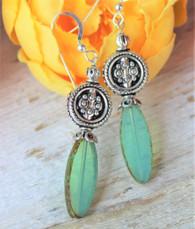 Green Glass Lilly Earrings