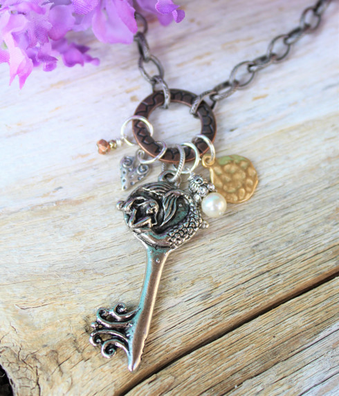 Mermaid Key Charm Necklace