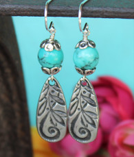 Turquoise Dangle Earrings Leaf Pattern