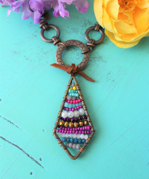 Beaded Gemstone Bohemian Necklace