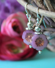 Tiny Mauve Flower Earrings