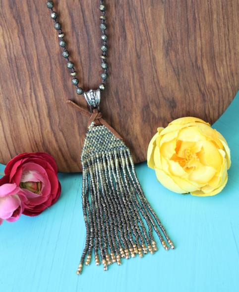 Woven Pendant Pyrite Necklace