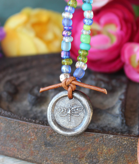 Gypsy Soul Dragonfly Wax Seal Necklace