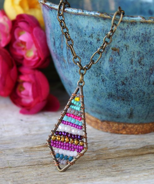 Colorful Beaded Gemstone Chain Necklace