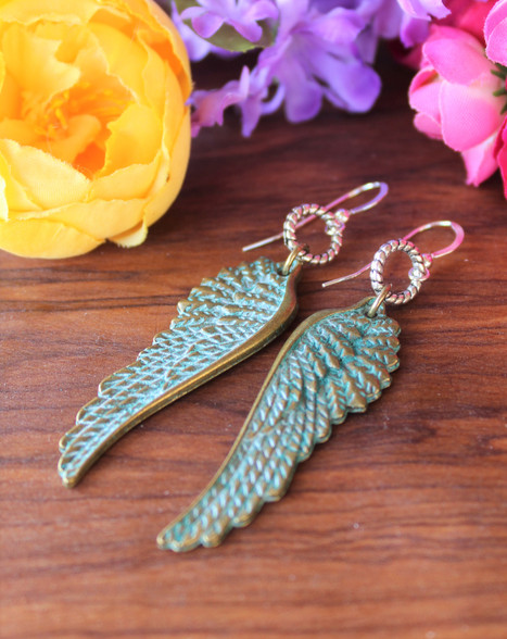 Angel Wing Verdigris Earrings