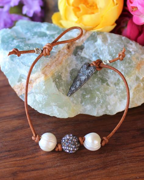 Pearl and Rhinestone Leather Bracelet