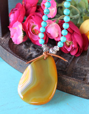 Agate Slice Turquoise Necklace