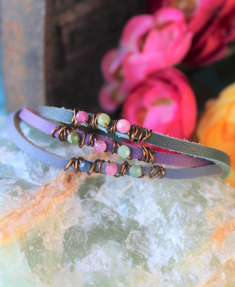Wire-Wrapped Gemstone Bracelets