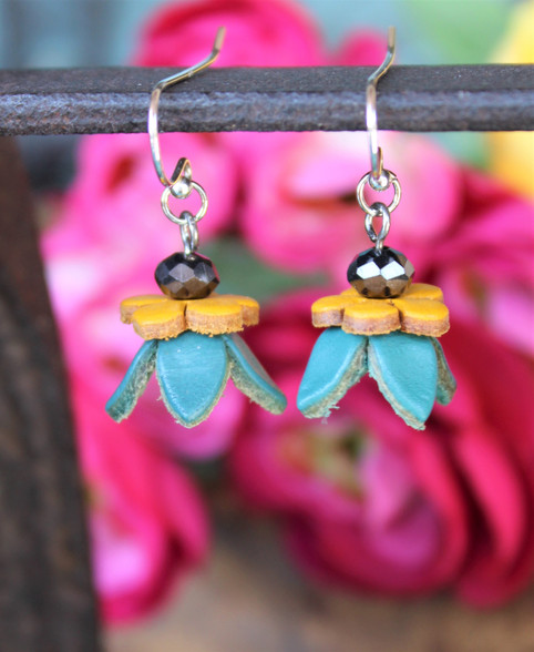 Leather Flower Earrings Turquoise Yellow