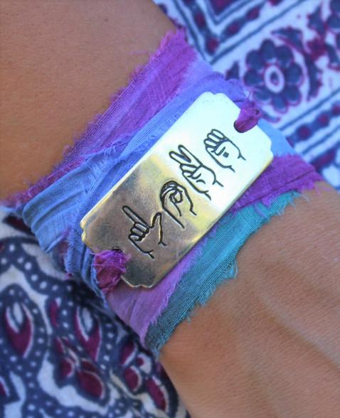 Love Symbol Sign Language Ribbon Wrap Bracelet