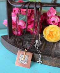 Time Machine Square Mixed Metal Pendant Boho Necklace
