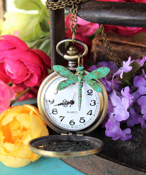 Dragonfly Necklace Watch