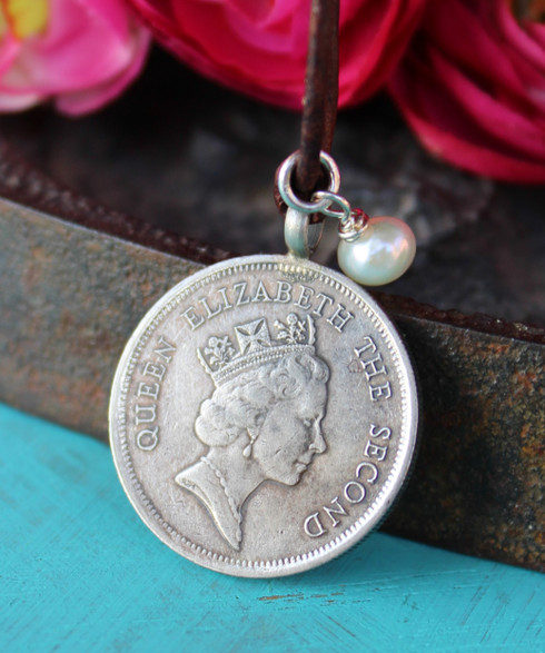 Hong Kong Queen Elizabeth Coin Necklace