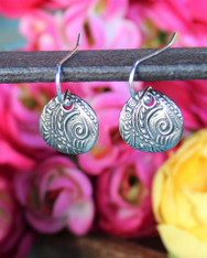 Stamped Silver Teardrop Earrings Chloe