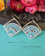 Deluxe Boho Earrings - Silver and Blue