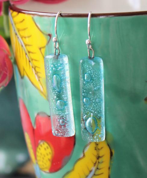 Fused Glass Earrings - Lagoon