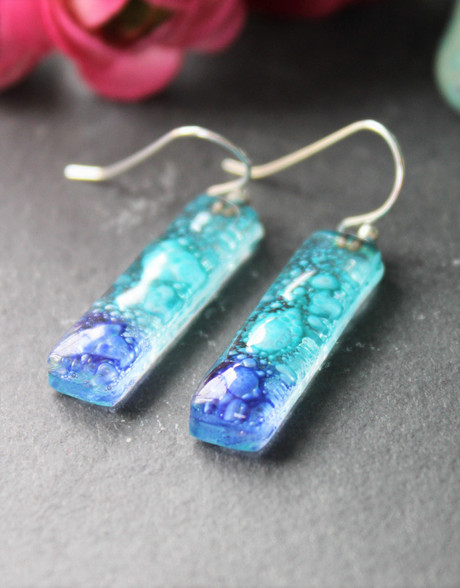 Fused Glass Earrings - Midnight