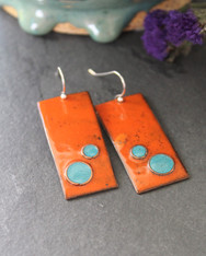 Enameled Copper Earrings - Woodstock Orange and Turquoise