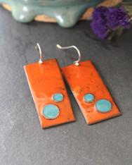 Enameled Copper Earrings - Woodstock Orange and Turquoise