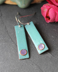 Enameled Copper Earrings - Zen Blue and Purple