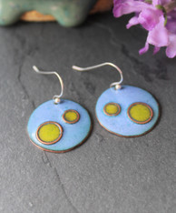 Enameled Copper Earrings - Psychedelic Blue and Green