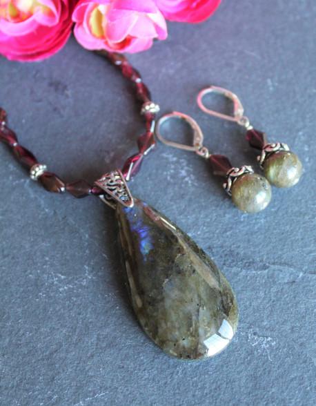 Labradorite Garnet Necklace