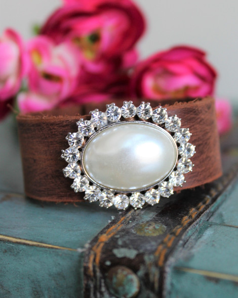 Pearl Bling Boho Chic Leather Cuff