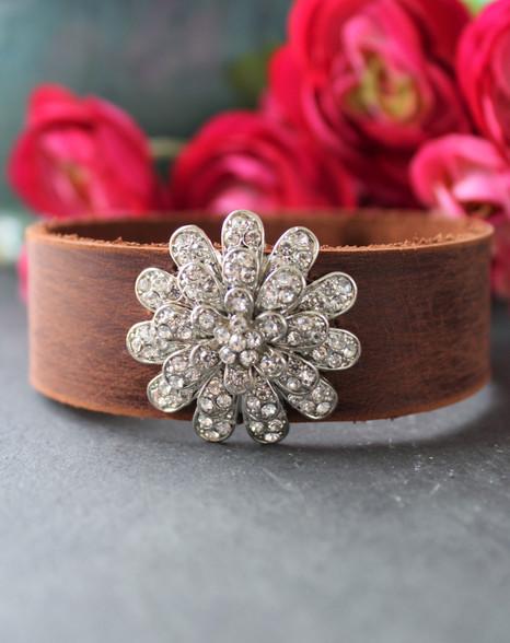 Rhinestone Flower Boho Chic Leather Cuff