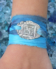 Monogram Recycled Silver Ribbon Wrap Bracelet