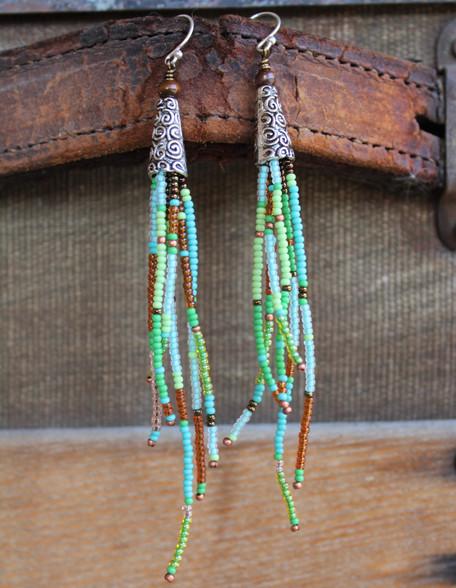 Beaded Tassel Earrings - Spring Mix