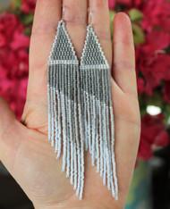 Metallic Silver Fringe Earrings