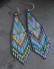 Beaded Fringe Earrings - Tropical Rain