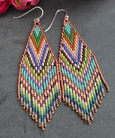 Beaded Fringe Earrings - Coachella
