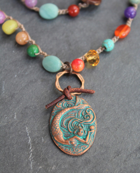Crocheted Gemstone Mermaid Necklace