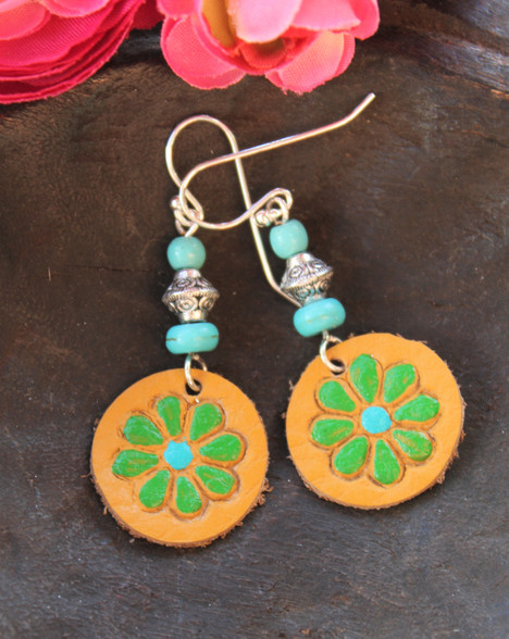 Hand-Painted Leather Earrings Yellow Green Turquoise Sterling Silver