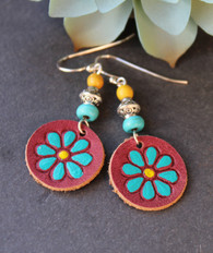 Hand-Painted Leather Earrings - Red/Turquoise/Yellow Flowers