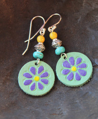 Hand-Painted Leather Earrings - Green/Purple/Yellow/Turquoise Flower