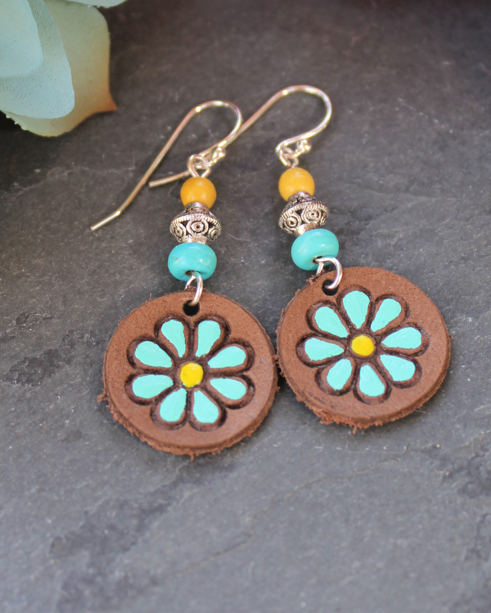 Turquoise /& Gold Leather Flower Earrings