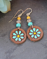 Hand-Painted Leather Flower Earrings - Brown/Turquoise/Yellow