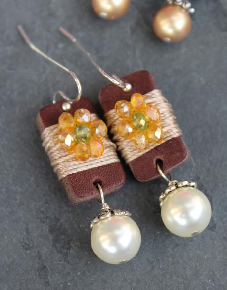 Boho Girl Pearl Earrings - Yellow/Green