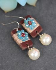 Boho Girl Pearl Earrings - Light Sapphire / Red
