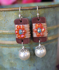 Boho Girl Pearl Earrings - Orange / Turquoise