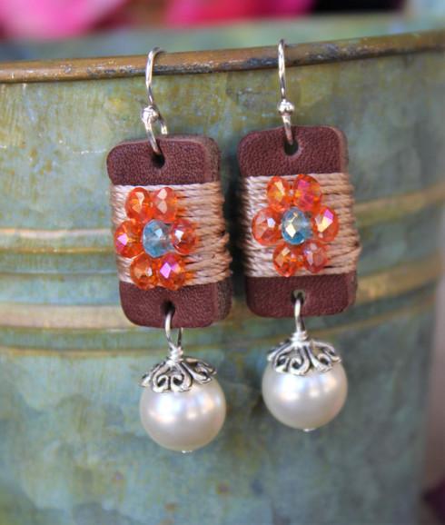 Boho Girl Pearl Earrings - Orange / Turquoise