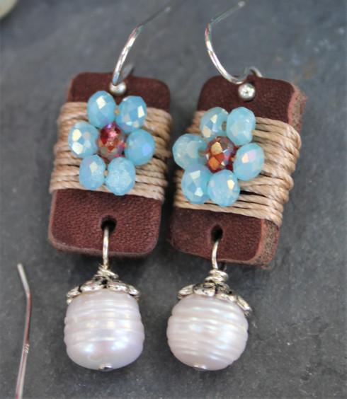 Boho Girl Pearl Earrings - Turquoise / Red / White Pearl
