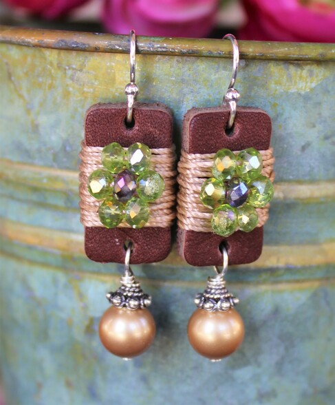Boho Girl Pearl Earrings - Green / Purple