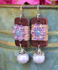 Boho Girl Pearl Earrings - Mauve / Turquoise